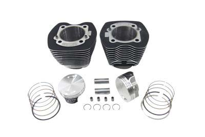 """Vtwin Black 95"""" Twin Cam Big Bore Cylinder Piston Kit for 00-06 Harley Softail"""