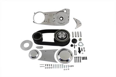 """This 3"""" Open Belt Drive Kit includes a 48 tooth front and 76 tooth rear pulley, 3"""" x 8mm belt, clutch pack, billet engine plate, starter jack shaft extension, polished outer cover set and hardware."""