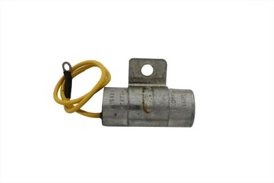 "Large 500 MFD, 25 VDC ignition capacitor regulates light intensity. It has a positive wire lead and the case is grounded. The case measures 1"" in diameter x 2-1/4"" long with mounting screw tab."