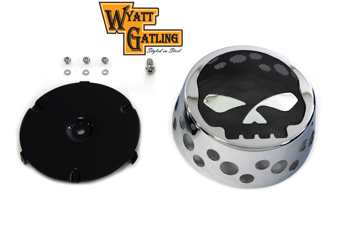 Skull Air Cleaner Cover : Swiss cheese style chrome air cleaner cover is tapered w