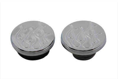 V-Twin Manufacturing - Billet flame gas cap set comes with a