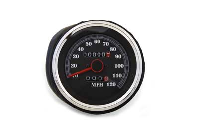 """3"""" speedometer head has a black background with white numbers reading 10-120 mph. Comes with auto turn signal switch and is for front wheel drive."""