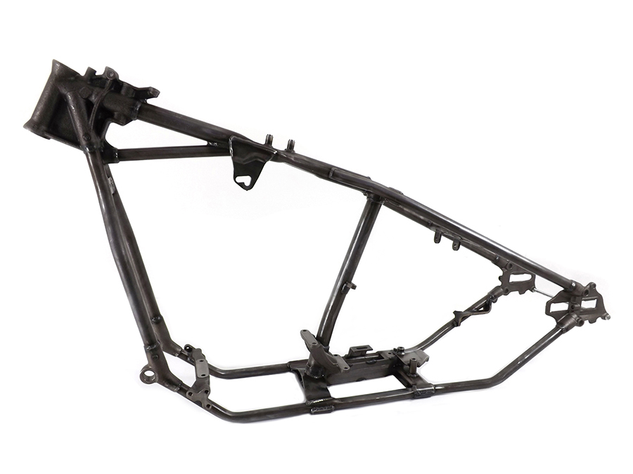 Exact Replica of the original style frame only updated to accept flat side tanks. Frame has many options for the look you want! Frame will hold a Panhead or Shovelhead engine with 4-speed or 5-speed transmission.