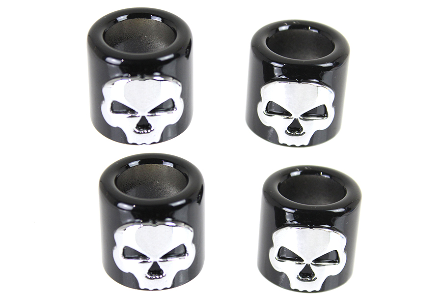 Pushrod Cover Cup Set with Skull Design Chrome with Black
