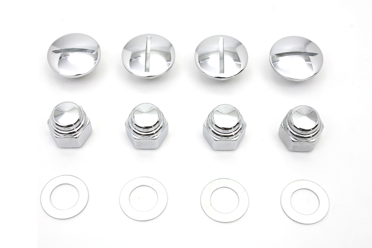 Rocker Arm Slotted Chrome Cover Plug Kit