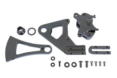 Chrome Rear 4 Piston Caliper and Bracket Kit