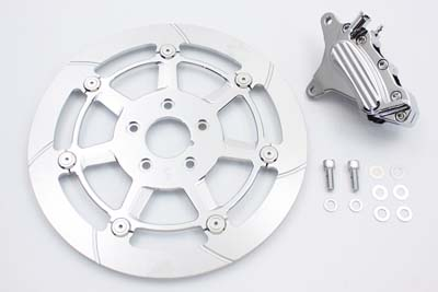 "*UPDATE Chrome Front 6 Piston Caliper and 12-5/8"" Disc Kit"