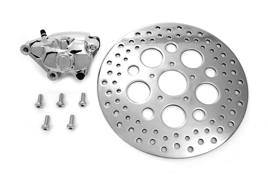 "Chrome Front 4 Piston Caliper and 11-1/2"" Disc Kit"