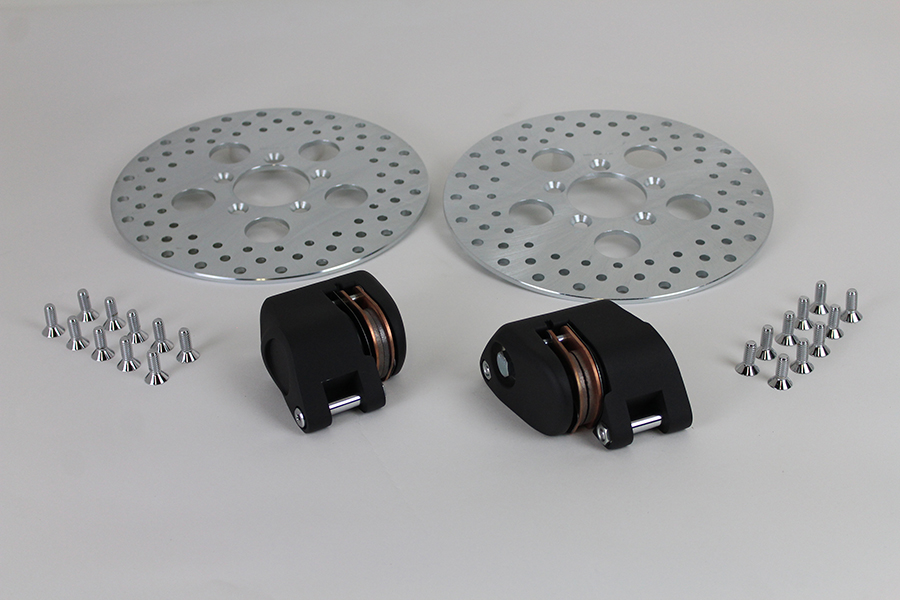 """Front Dual Disc Caliper and 10"""" Disc Kit Black"""