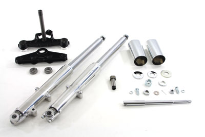 Fork Assembly with Polished Sliders Left Side Drum Brake
