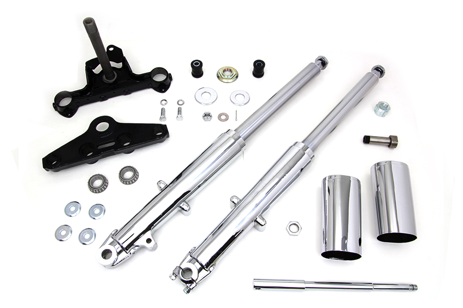 Fork Assembly with Chrome Sliders Left Side Drum Brake