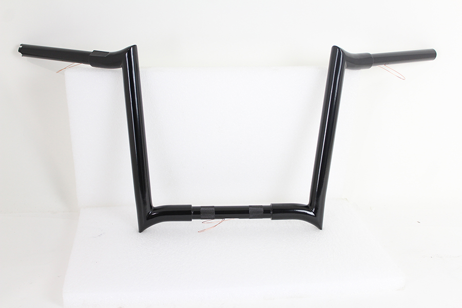 """VTwin Black 14"""" Z-Bar Handlebar With Indents 82-17 Harley Softail Touring FXR"""