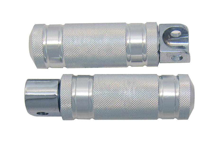 Silver Knurled Four Grooved Footpeg Set