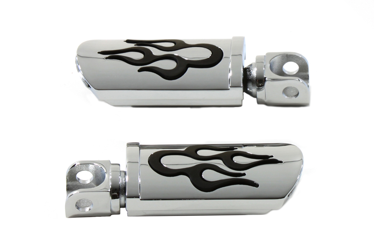 Flame Style Adjustable Footpeg Set Chrome