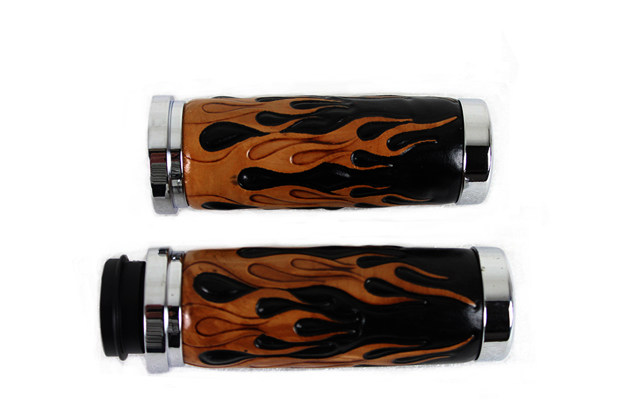 Amber Flame Style Throttle By Wire Grip Set with Chrome Ends
