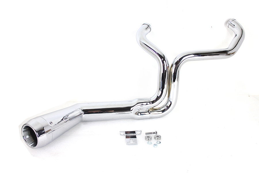 "FLT Offset Megaphone 2:1 1-3/4"" Exhaust Chrome with Chrome  Tip"