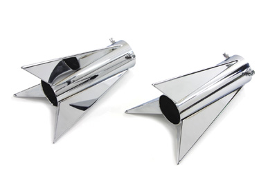 "Chrome Three Fin Rocket Tip Set for 2"" Muffler"