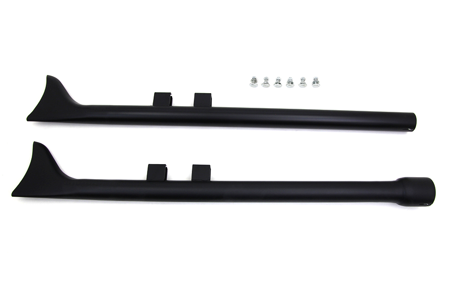 "M8 36"" Straight Fishtail Exhaust Extension Set Black"