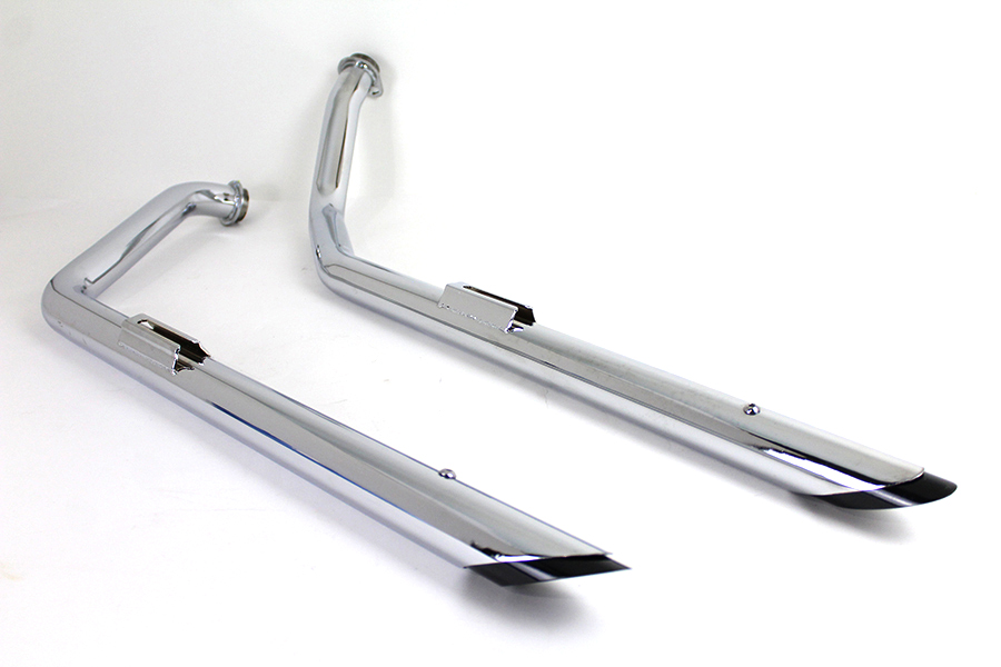 Exhaust Drag Pipe Set with Black Tips