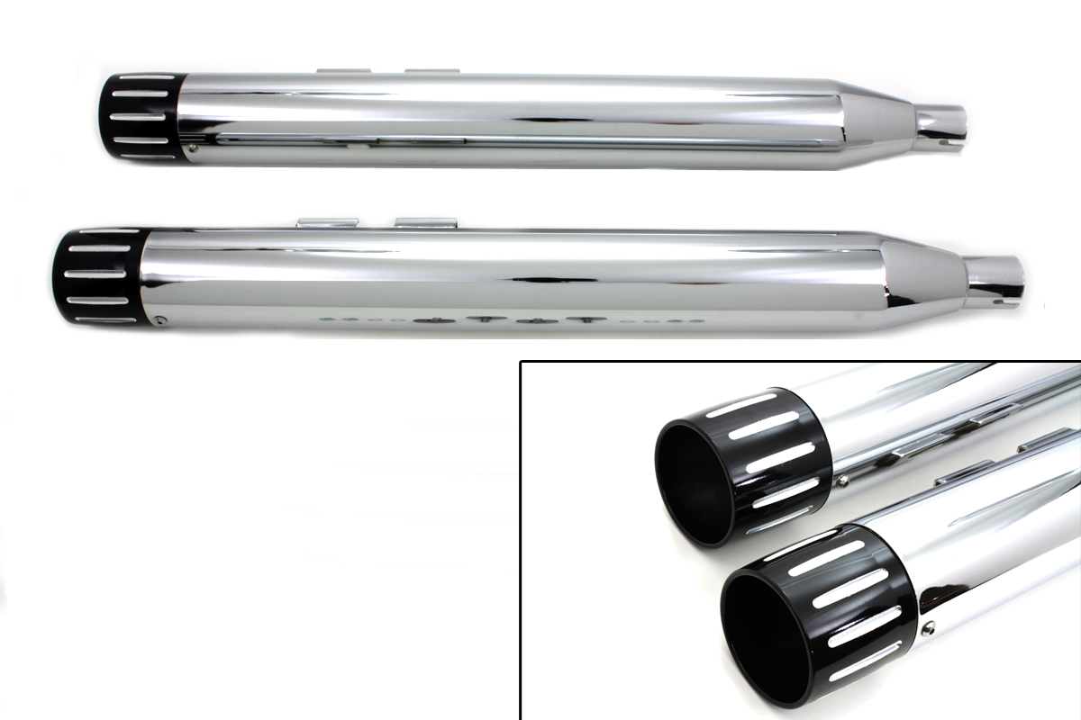 Chrome Muffler Set with Black Ball Milled Revolver End Tips