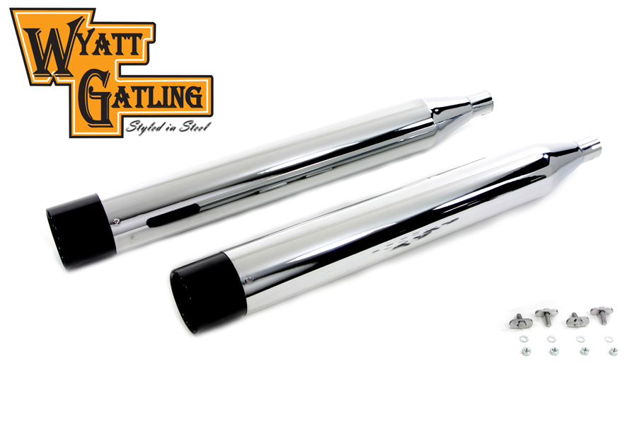 Wyatt Gatling Chrome Muffler Set with Black Gun Barrel Ends