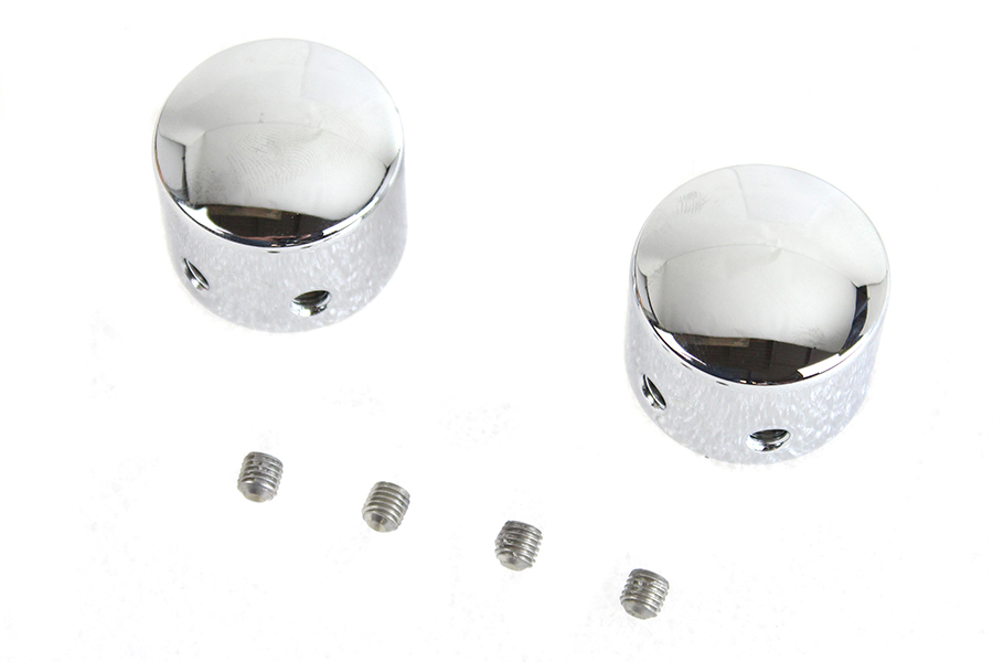 Domed Front Axle Cover Set Chrome Plated