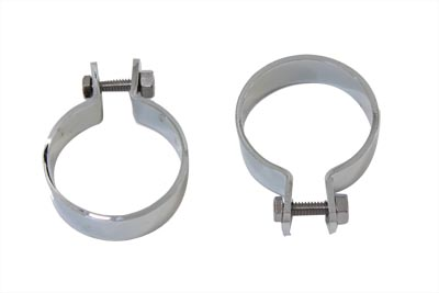 "Chrome 2"" Muffler Body and End Clamp Set"