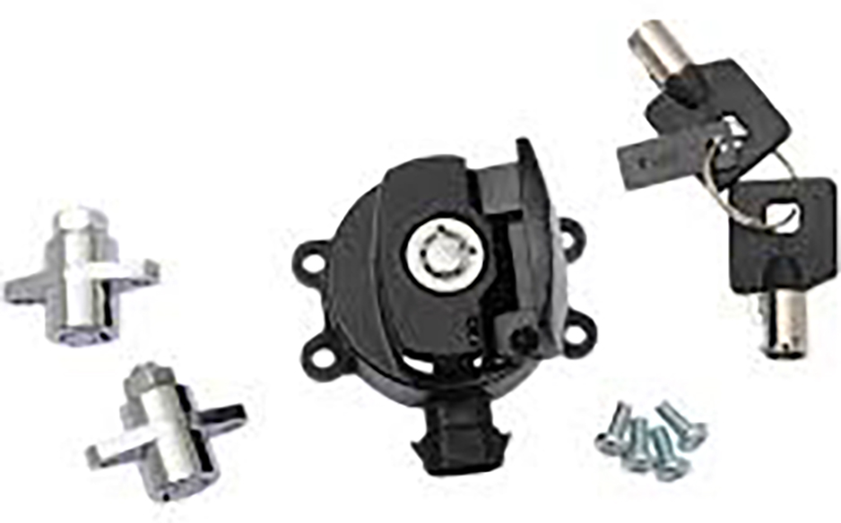 Side Hinge Ignition Switch and Saddlebag Lock Kit Black
