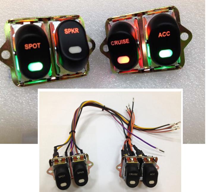 Rocker Style LED Handlebar Switch Kit Black