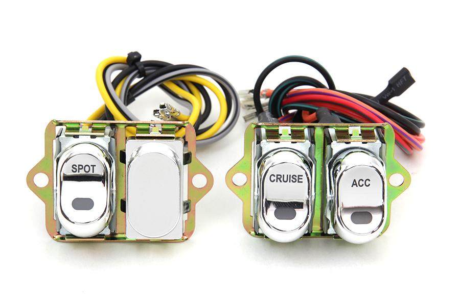 Rocker Style LED Handlebar Switch Kit Chrome
