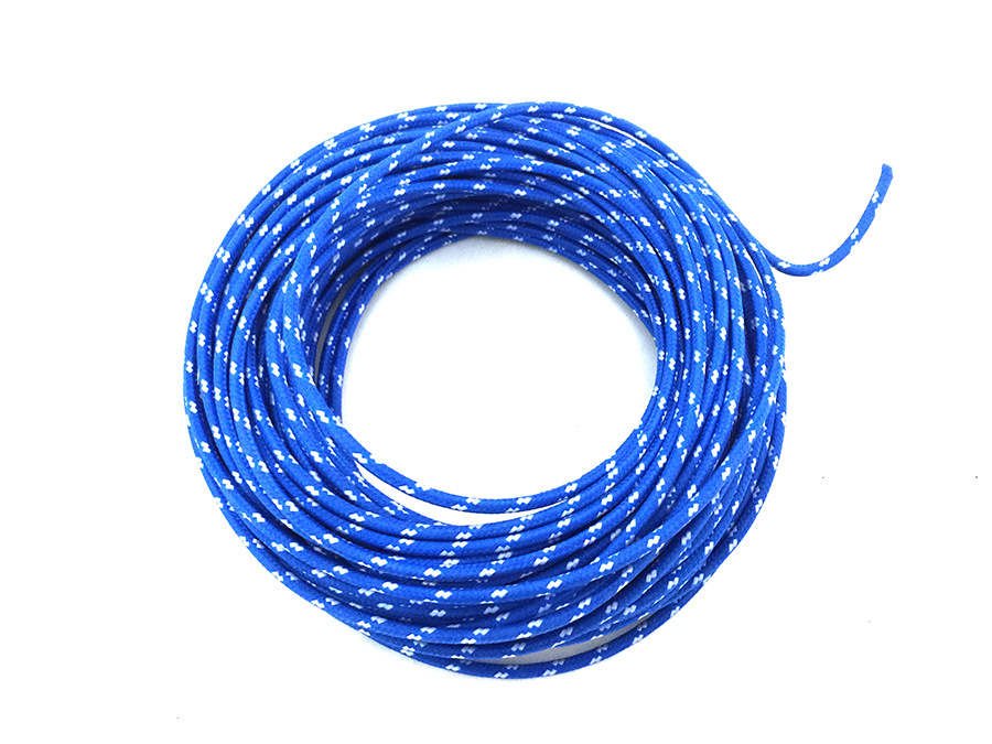 Blue with White Dot 25' Braided Wire