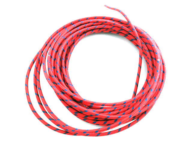 Red with Blue Dot 25' Braided Wire