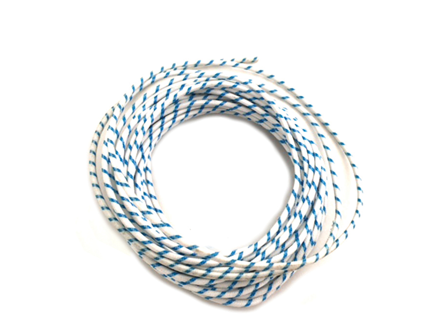 White with Blue Dot 25' Braided Wire