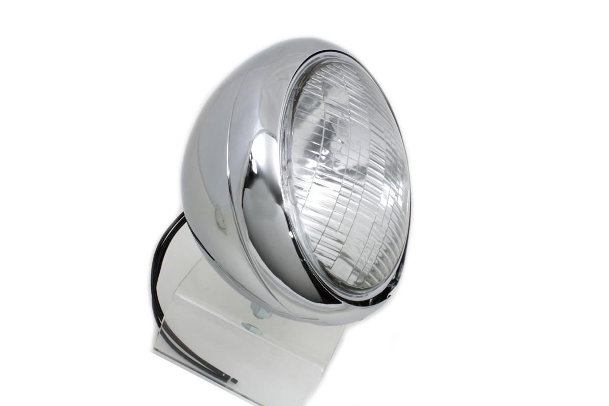 Chrome Replica 7 Round Headlamp 6 Volt Fits Harley