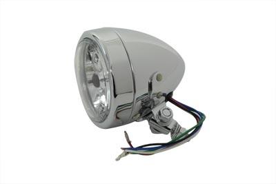 "4"" Round Headlamp 12 Volt Chrome"