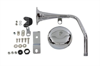 Trumpet Style 12 Volt Chrome Horn Kit