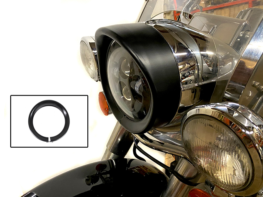 Outer Headlamp Black Frenched Trim Ring with Visor