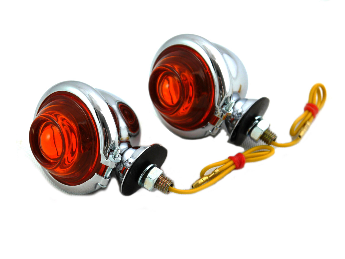 Chrome Turn Signal Set Bullet with Amber Lens