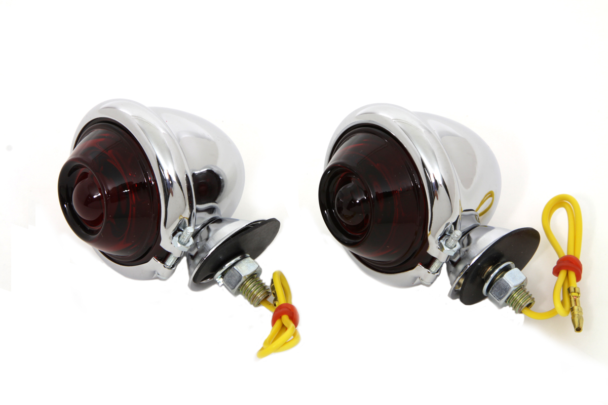 Chrome Turn Signal Set Bullet with Red Lens