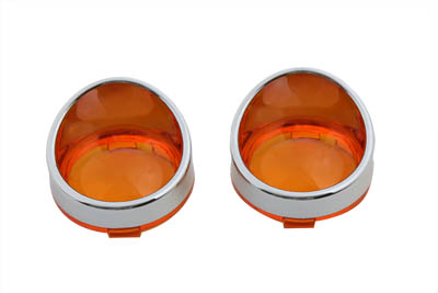 Chrome Turn Signal Bezel Amber Lens