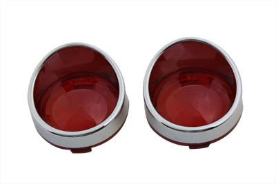 Chrome Turn Signal Bezel Red Lens