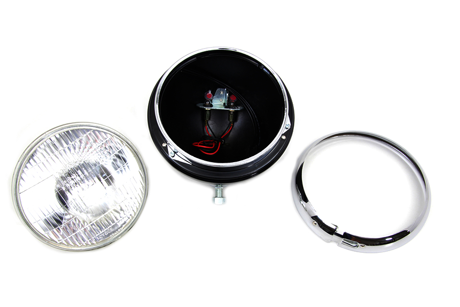 "Black 7"" K Headlamp with Chrome Rim"
