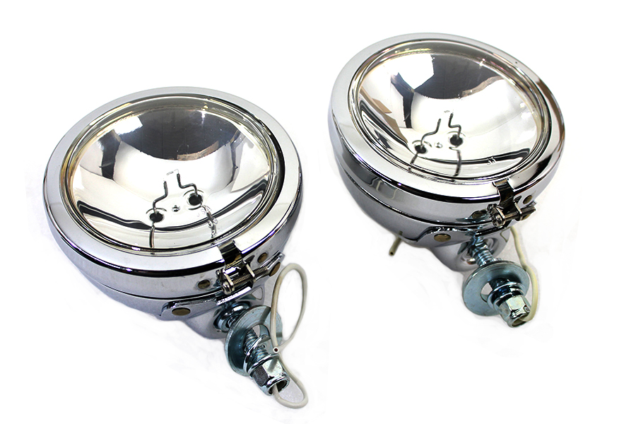 "Chrome 4-1/2"" Spotlamp Set with Clear 6 Volt Bulb"