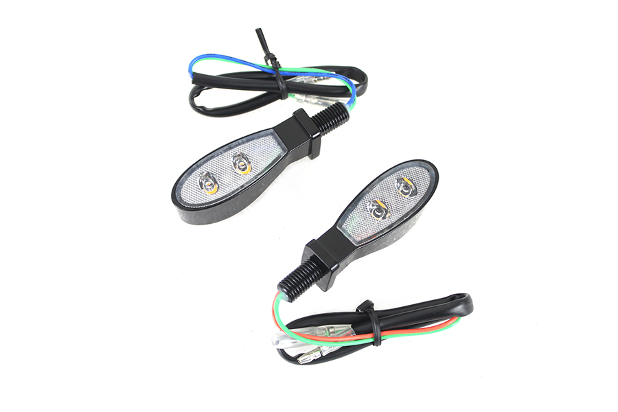 Black Tear Drop Shaped LED Turn Signal Set with Clear Lens