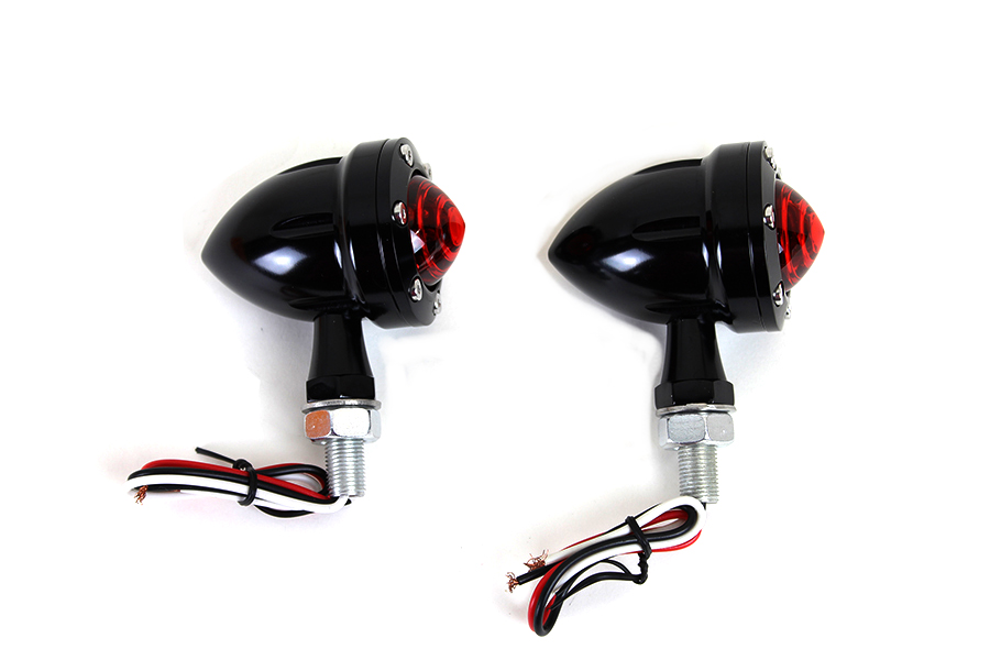 LED Bullet Turn Signal Set Black with Red Lens