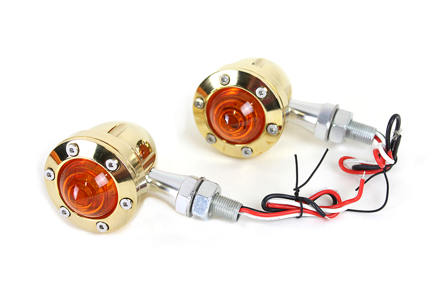LED Bullet Turn Signal Set Brass with Amber Lens