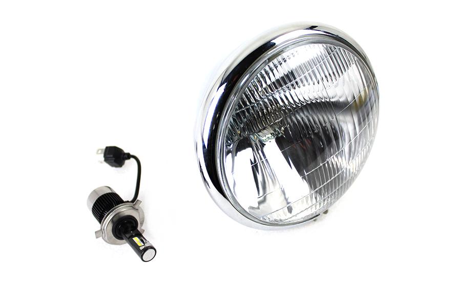 """6-1/2"""" Spring Fork H-4/LED Headlamp Unit Chrome"""