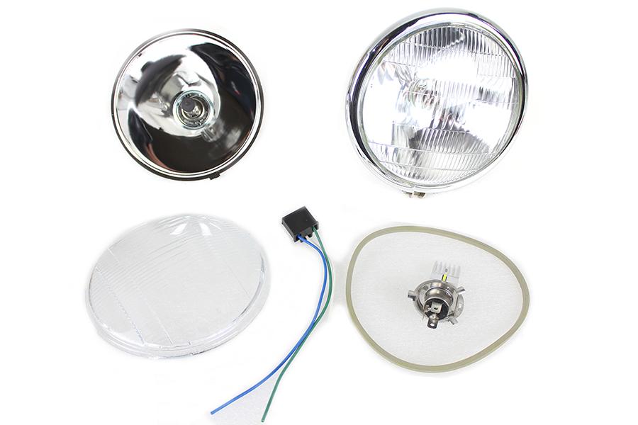 """6-1/2"""" Spring Fork 6 Volt LED Headlamp Chrome"""