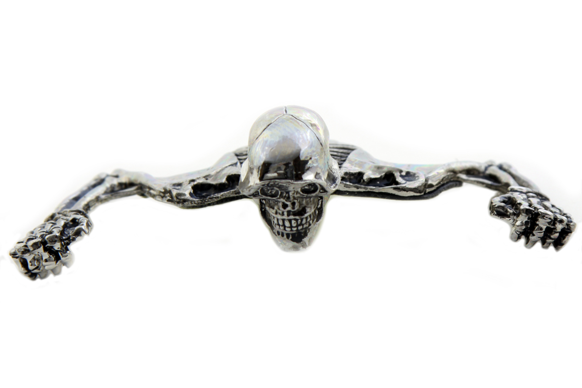 "7"" Headlamp Visor Ornament Skull Type Chrome"