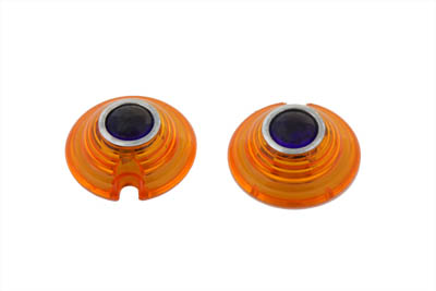 Marker Lamp Lens Amber with Blue Dot Bullet Style
